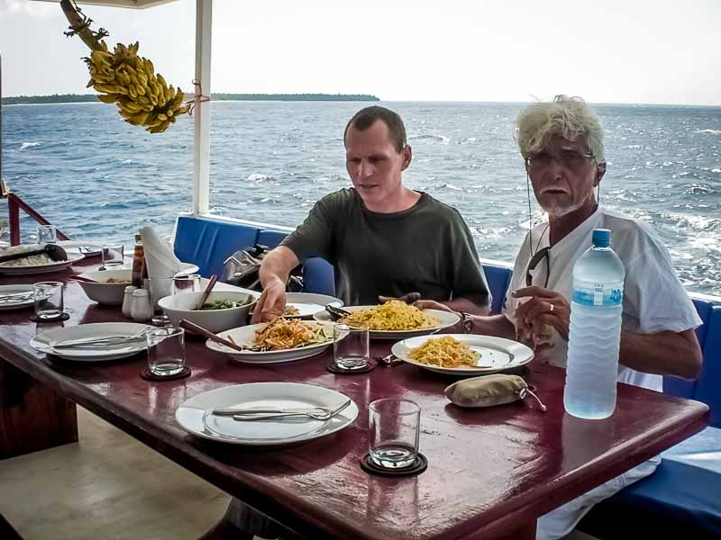 Lunchtime on Noah boat Maldives